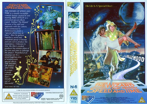 Will Hart Holding Mike Jittlov on His Right Shoulder - The Wizard of Speed and Time PAL VHS Cover - 1988