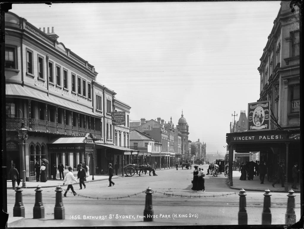 Bathurst Street, Sydney, from Hyde Park