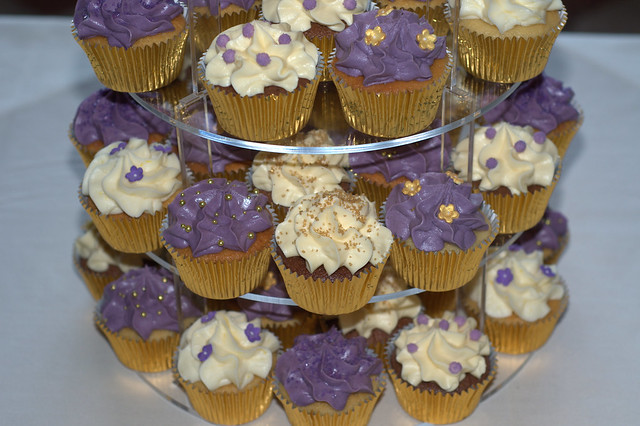 Purple and gold wedding cupcakes vanilla lemon and white chocolate