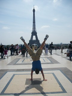 So happy to be at the Eiffel Tower, I was doing handstands!