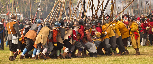 A 'Push of Pike' between two teams of the Sealed Knot during a re-enactment of the Siege of Basing House, an event in the English Civil War