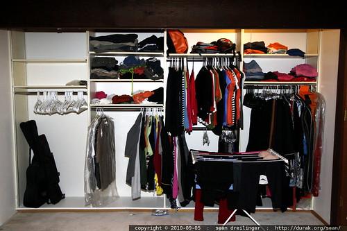 bedroom closet   his side, her side