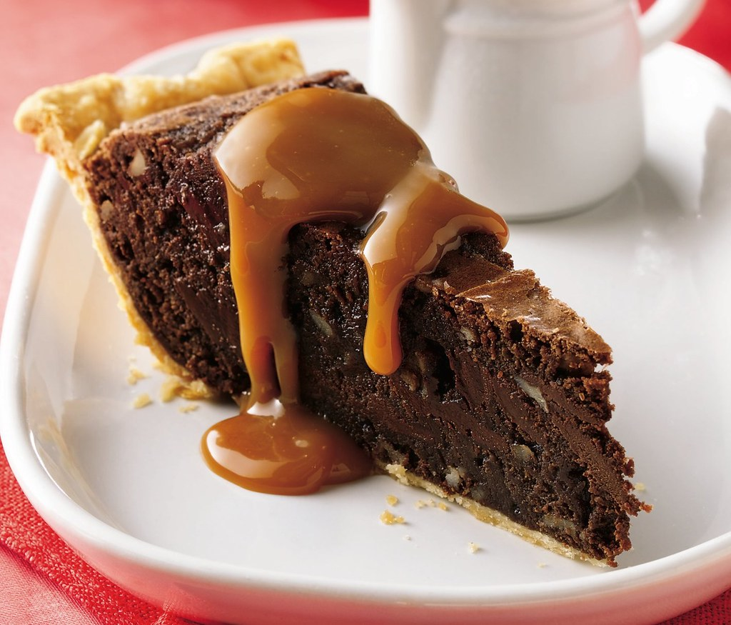 Fudgy Brownie Pie with Caramel Sauce Recipe - a photo on Flickriver