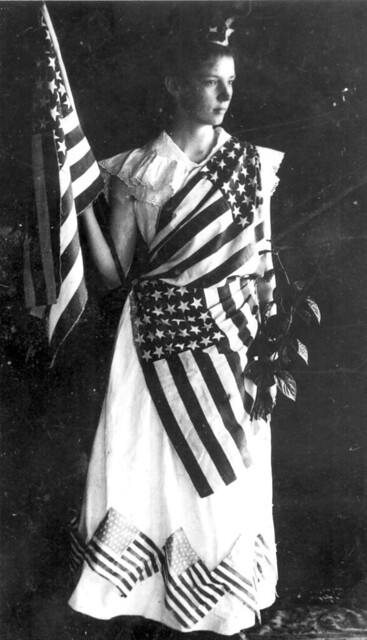 Marion Duncan in costume for 4th of July play: Tavares, Florida