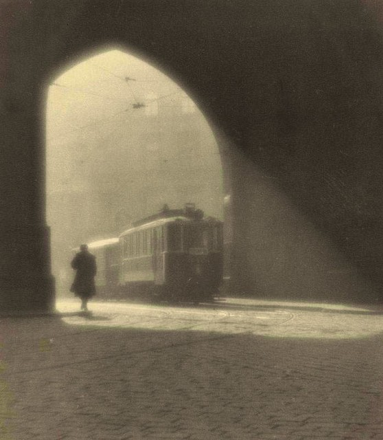 Morning Trolley, Prague, by Josef Sudek 1924