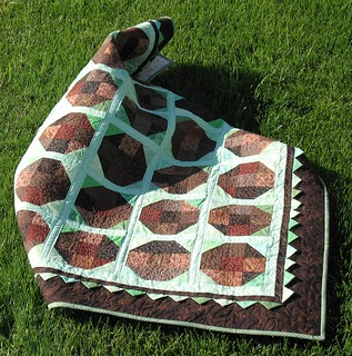 Mint chocolate box quilt on the lawn