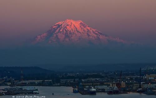 sky mountain snow washington tacoma mtrainier alpenglow northwestpacific topazdenoise3