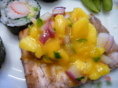 Mango Salsa and marinaded salmon