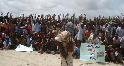 Al-Shabab rally in Somalia where the U.S.-backed Transitional Federal Government is being proped up by the western-funded AMISOM military forces composed largely of Ugandan and Burundian troops. by Pan-African News Wire File Photos