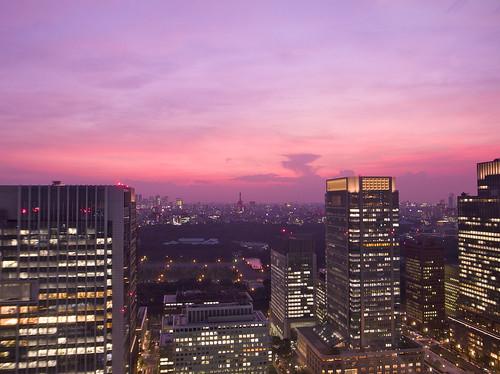 pink sunset orange japan tokyo twilight purple 東京 gradation 夕日 オレンジ 紫 黄昏 ricohgrdigital3