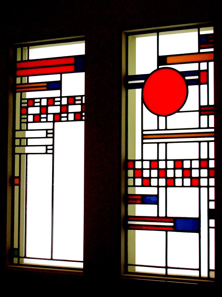Two Windows  Frank Lloyd Wright  1912Frank Lloyd Wright Stained Glass Circles