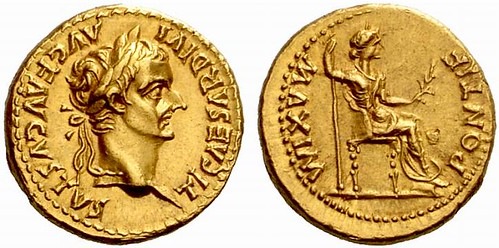 "RI178 A Roman Gold Aureus of Tiberius (14 C.E. - 37 C.E.), a Fabulous Example of the ""Tribute Penny"""