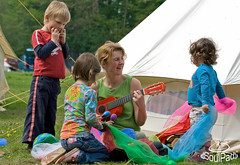 Children being entertained at a campsite