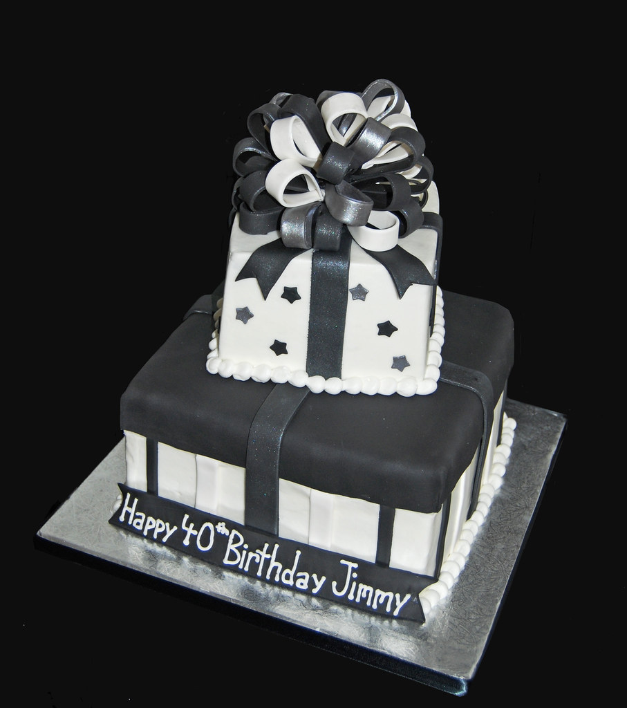 40th Birthday Two Tier Package Cake Black White And Silver