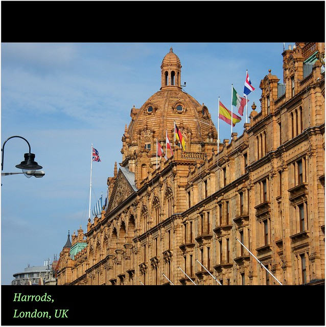 Harrods, London, UK : A glittering : ICON : beautiful facade for ONE OF THE WORLD'S GREAT Department Stores : EXPLORE : STORE : MORE : Enjoy every FLOOR! :)