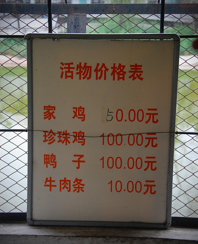 The Price List for Purchasing Animals to Feed to the Tigers