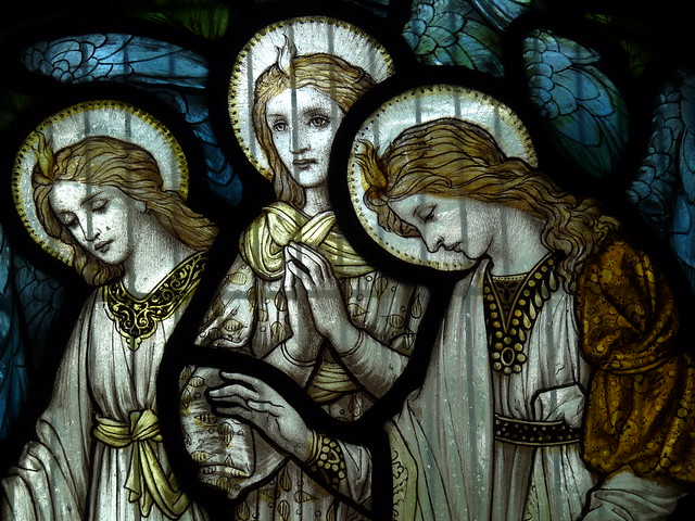 angels - stained glass by Morris & Company