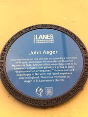 Photo of John Asger blue plaque