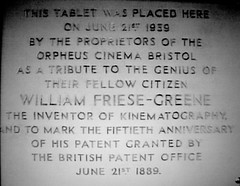 Photo of William Friese-Greene white plaque
