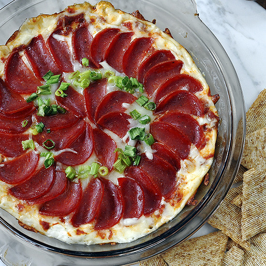 Pizza Dip--serve it hot, with lots of crackers. Guys love it.
