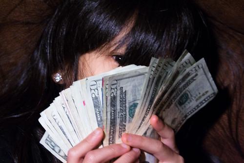 Girl Eye Peeking Out Behind Fan of $20 Bills Money Bankroll Girls February 08, 201114