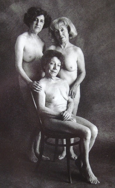 Three nude mature women and chair, 1969. Jean-Francois Bauret