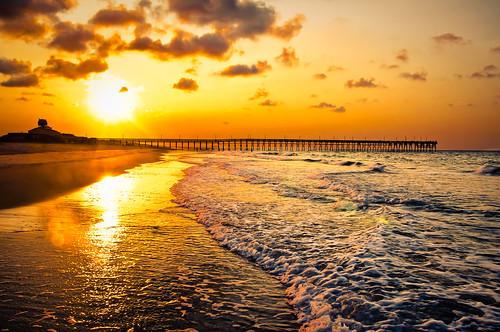 vacation sun beach water sunrise sand northcarolina sillouette oceanislebeach