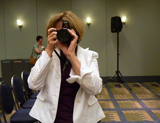 dueling cameras with Nancy Dowd at Battledecks