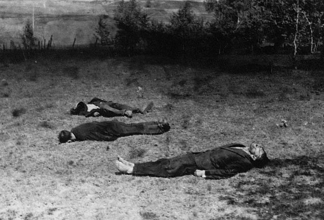 Three dead Russian partisans, 1941