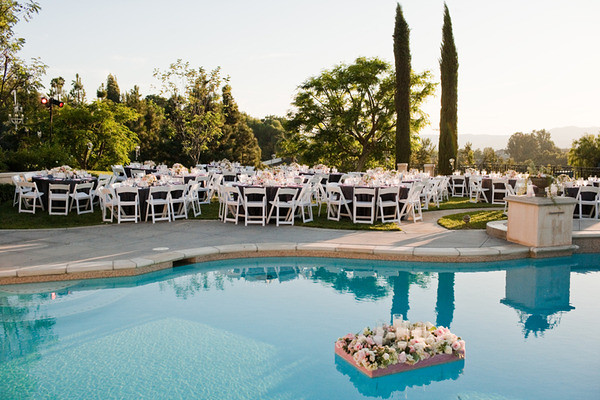 Flowers in Pool-Vintage California Wedding-Style Me Pretty-Camille Styles Events