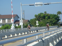 Cyclists Cross Mathers Bridge