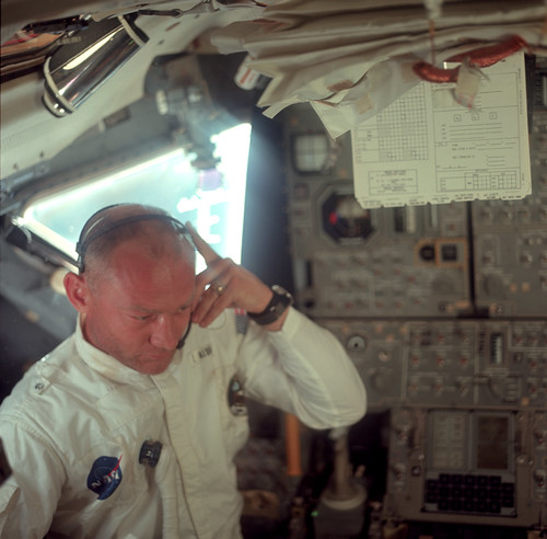 Buzz Aldrin during their initial inspection