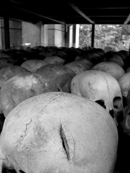 Axe wound on one of the skulls, Tuol Sleng, S-21