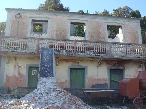 facade with rubble