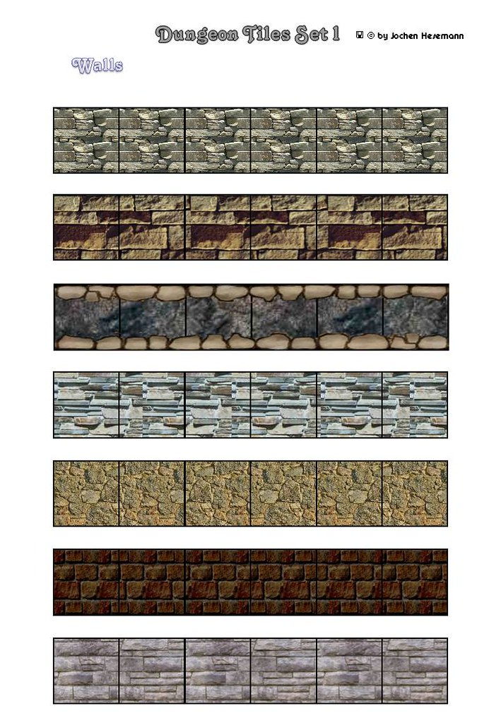 Dungeon Tiles Set 01 - Walls & Bricks & Rocks for floor plans/maps ...