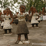 A Warm Greeting by Female Statues at the Rock Garden in Chandigarh