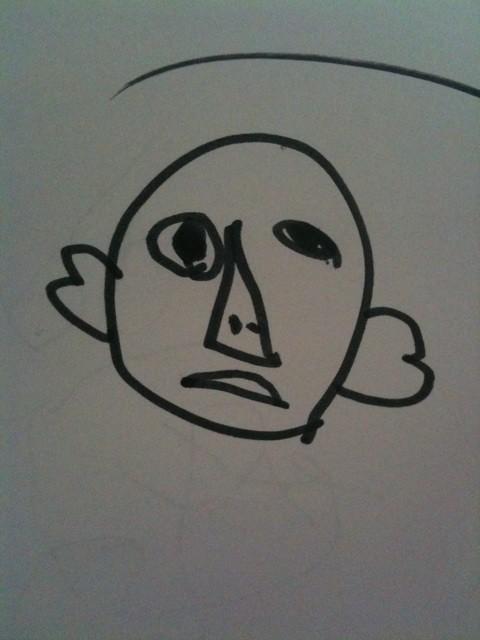 化粧してた女の人、って子供がこんなん描いてきた。ケミーキラーのアキラ。