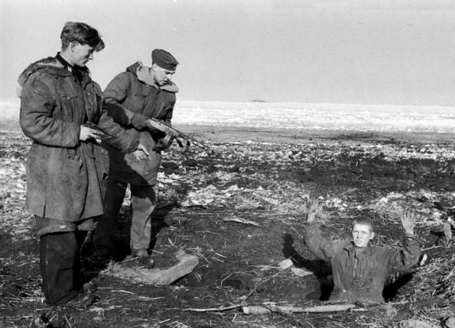 German soldiers capture a young Russian