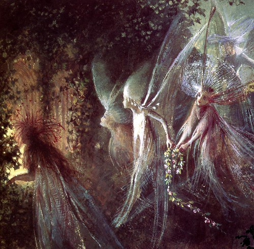 "John Anster Fitzgerald, ""Faeries Looking Through a Gothic Arch"" (detail)"
