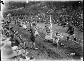 The winning Queen Mary's Auxilary Army Corps tug-o-war at the NZ Infantry and General Base Depot, Etaples, France, 3 August 1918