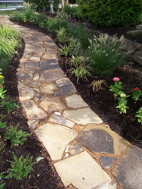 Installing A Flagstone Patio With Mortar: Flagstone Pathway Install