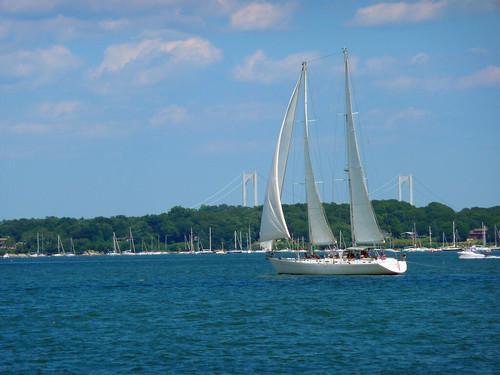 sailboat and bridge by Rick Payette via I {heart} Rhody