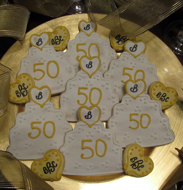 50th Wedding Anniversary Lots of birthday and baby cookies but there are