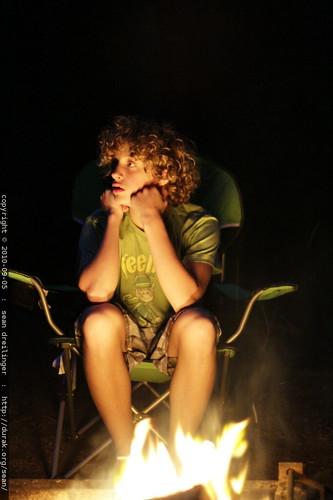 caleb at the campfire