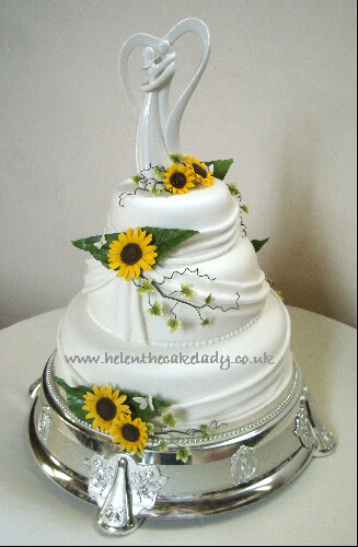 how to stack a 3 tier sponge wedding cake sunflower 3 tier stacked wedding cake flickr photo 16147