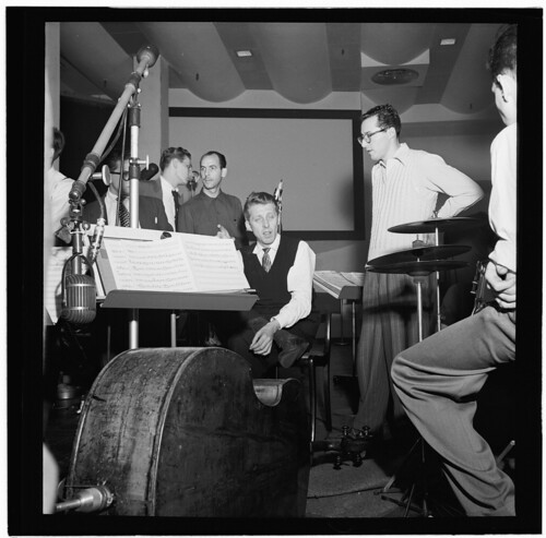 [Portrait of Stan Kenton, Pete Rugolo, and Harry Forbes, Capitol studio, ca. Jan. 1947] (LOC)