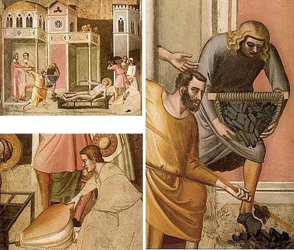 Bernardo DADDI -fresque de 1330 - Martyre de saint Laurent - Florence, Santa Croce, chapelle Pulci Berardi-.