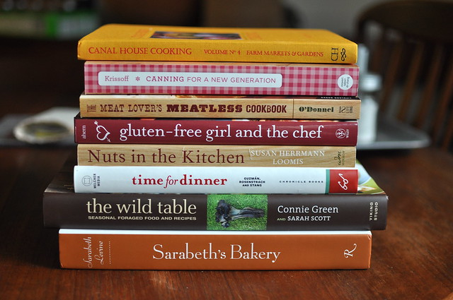 stack of recent cookbook favorites