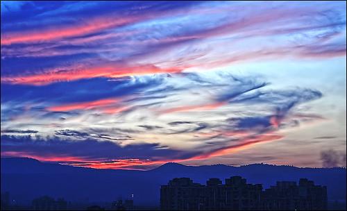 blue red clouds sunrise long exposure d5000 antopix