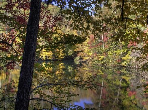 autumn trees sky lake fall water leaves reflections nc northcarolina hdr ncmountains hwy80 mcdowellcounty laketahoma davidhopkinsphotography photocontestfall10